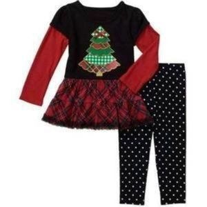 Girls Christmas Tree Shirt Leggings Pants Set